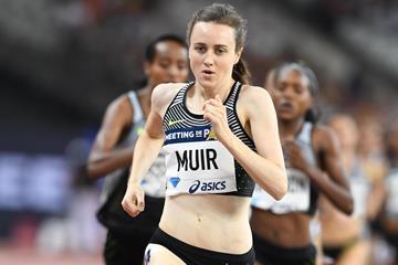 Laura Muir winning the 1500m at the 2016 Diamond League meeting in Paris (Jiro Mochizuki)