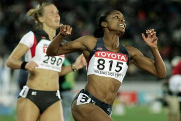 Michelle Perry of the US celebrates winning gold in the 110m Hurdles (Getty Images)