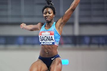 Khaddi Sagnia in the long jump at the IAAF World Indoor Tour meeting in Glasgow (Mark Shearman)