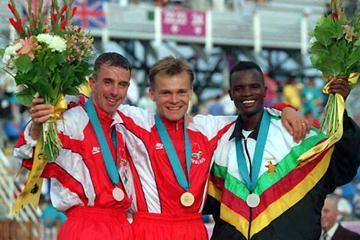 Philemon Hanneck (right) , with his 1994 Commonwealth silver (Getty Images)