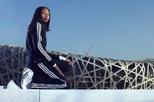 Allyson Felix poses in front of Beijing's Olympic Stadium (IAAF.org)