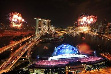 A burst of fireworks explodes in the night sky during the opening ceremony of the Singapore 2010 Youth Olympic Games (YOG) (SPH-SYOGOC / Alphonsus Chern)