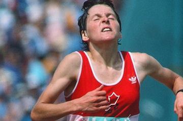 Silvia Ruegger in the 1984 Olympic Marathon (Claus Andersen)