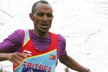 Eritrea's Teklay Azerya winning at the 2013 Montée du Grand Ballon  (WMRA)
