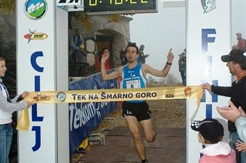Mitja Kosovelj of Slovenia winning the Smarna Gora run in Ljubljana (organisers)