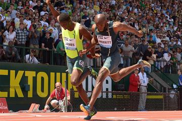 Kirani James wins the 400m in a close finish at the IAAF Diamond League meeting in Eugene (Kirby Lee)