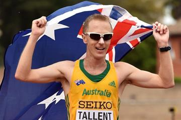 Jared Tallent after taking 50km silver at the IAAF World Race Walking Team Championships Rome 2016 (Getty Images)