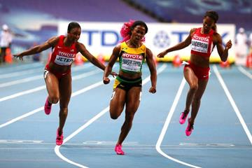 Shelly Ann Fraser Pryce in the womens 100m Finals at the IAAF World Athletics Championships Moscow 2013 (Getty Images)