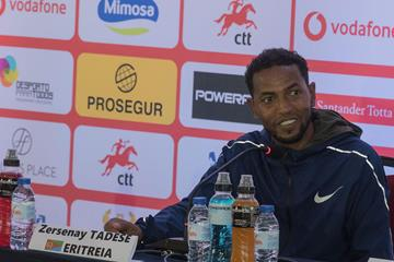 Zersenay Tadese at the pre-race press conference in Lisbon (organisers)