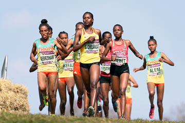 Sarah Chelangat leads the U20 women's race at the IAAF/Mikkeller World Cross Country Championships Aarhus 2019 (Getty Images)