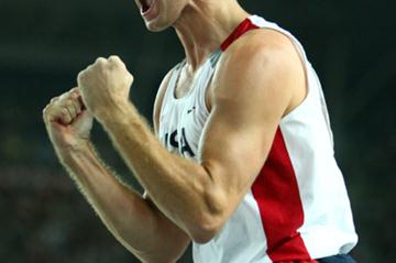 Brad Walker of USA celebrates while competing in the Men's Pole Vault Final (Getty Images)