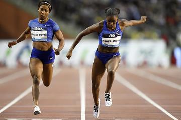 Shelly-Ann Fraser-Pryce and Dina Asher-Smith in the 100m at the Diamond League final in Brussels (AFP / Getty Images)