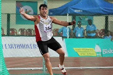 Ehsan Hadadi winning his fifth Asian discus title (Rahul Pawar)