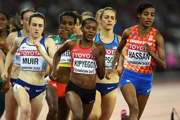 Laura Muir, Faith Kipyegon and Sifan Hassan in action at the IAAF World Championships (Getty Images)