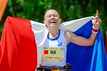 Nathalie Mauclair after winning at the 2015 IAU Trail World Championships  (French athletics federation / organisers)