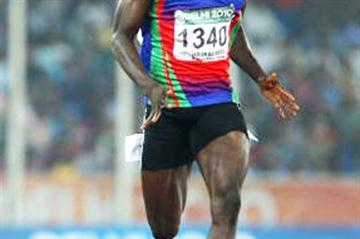 Suwaibou Sanneh of Gambia competes in the men's 200 metres second round at the Jawaharlal Nehru Stadium during day six of the Delhi 2010 Commonwealth Games on October 9, 2010 (Getty Images)