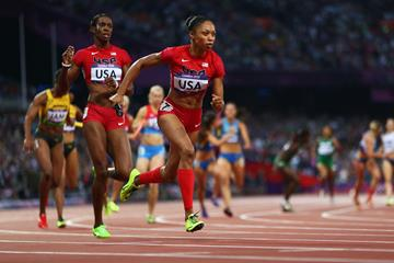 Allyson Felix in the 4x400m at the London 2012 Olympic Games (Getty Images)