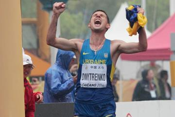 Ruslan Dmytrenko wins the men's 20km at the 2014 IAAF World Race Walking Cup in Taicang (Getty Images)