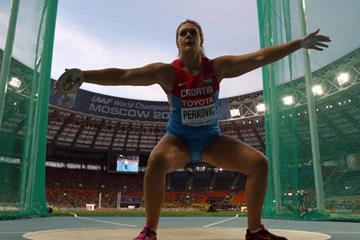 Sandra Perkovic in the womens Discus Throw at the IAAF World Athletics Championships Moscow 2013 (Getty Images)