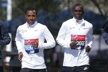 Kenenisa Bekele and Eliud Kipchoge ahead of the 2018 London Marathon (AFP/Getty Images)