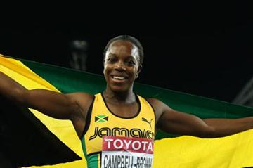 Veronica Campbell-Brown of Jamaica celebrates winning the women's 200 metres final  (Getty Images)