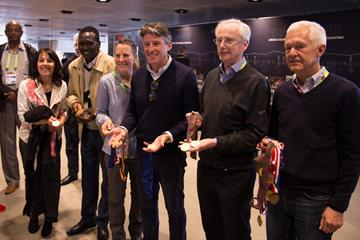 World Cross Country Champions with Seb Coe at the IAAF Heritage Cross Country Running Display in Aarhus (Bob Ramsak for IAAF)