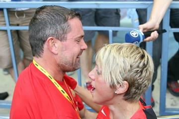 Christina Obergfoll and boyfriend Boris Henry at the IAAF World Championships Moscow 2013 (Getty Images)