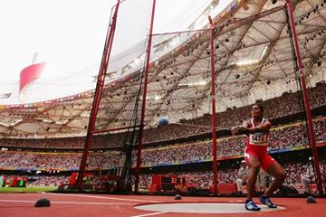 Yipsi Moreno produces the furthest mark in hammer qualifying with 73.92m (Getty Images)