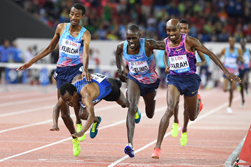 Mo Farah wins the 5000m at the IAAF Diamond League final in Zurich (Gladys Chai von der Laage)