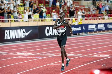 Joshua Cheptegei sets a world 5000m record at the Diamond League meeting in Monaco (Philippe Fitte)