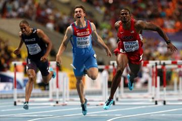 Action Shot in the mens 110m Hurdles Final at the IAAF World Athletics Championships Moscow 2013 (Getty Images)
