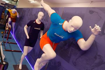 Running mannequins wearing IAAF Continental Cup Team bodysuits - IAAF Heritage Exhibition, Ostrava (Getty Images for IAAF)