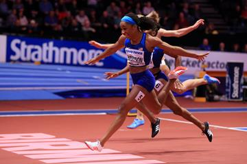 Kendra Harrison winning the 60m hurdles at the IAAF World Indoor Championships Birmingham 2018 (Getty Images)