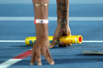 Morgan Mitchell of Australia lines up in the opening round of the women's 4x400m in Nassau (Getty Images)