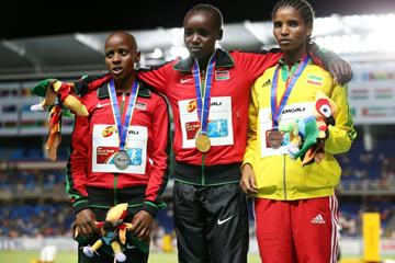 Girls' 2000m steeplechase podium at the IAAF World Youth Championships, Cali 2015 (Getty Images)