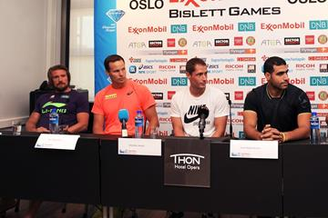 Andreas Thokildsen, Tero Pitkamaki, Vítezslav Vesely & Ihab Abdelrahman El Sayed at the 2014 IAAF Diamond League press conference in Oslo  (Mark Shearman)