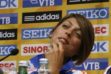 Continental Cup poster girl Blanka Vlasic at the pre-competition press conference in Split (Bob Ramsak)