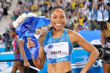 Allyson Felix after winning the 200m at the 2015 IAAF Diamond League meeting in Doha (DECA Text & Bild)