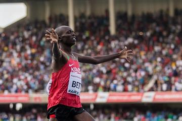 Leonard Betts wins the 2000m steeplechase at the IAAF World U18 Championships Nairobi 2017 (Getty Images)