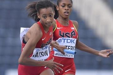 Sammy Watson of the USA in the 4x400m at the IAAF World U20 Championships Bydgoszcz 2016 (Getty Images)