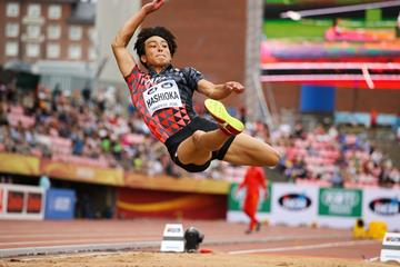 Yuki Hashioka in the long jump at the IAAF World U20 Championships Tampere 2018 (Roger Sedres)