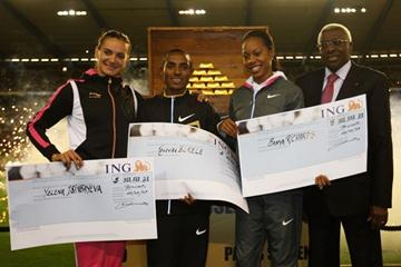 The ÅF Golden League $1million jackpot winners with IAAF president Lamine Diack (Getty Images)