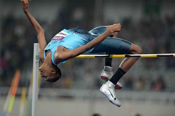 Mutaz Essa Barshim sets a meeting record in the high jump at the IAAF Diamond League meeting in Shanghai (Jiro Mochizuki)