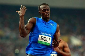 Usain Bolt celebrates winning the 100m in the Daegu World Challenge meeting (Getty Images)