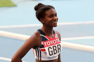 Dina Asher-Smith in the 4x100m Relay at the 2013 IAAF World Championships (Getty Images)