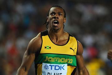 Yohan Blake celebrates winning the men's 100m gold medal in Daegu (Getty Images)
