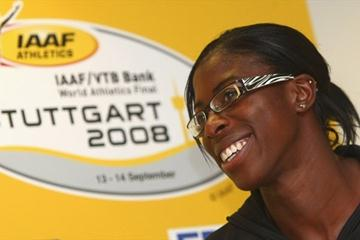 Christine Ohuruogu at the IAAF/VTB Bank World Athletics Final press conference in Stuttgart (Bongarts/Getty Images)