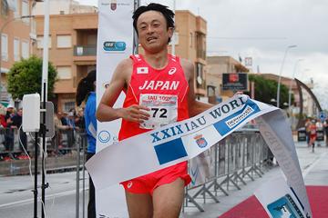 Hideaki Yamauchi wins the men's race at the IAU 100km World Championships (James Evans)