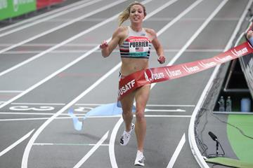 Elle Purrier wins over two miles at the New Balance Indoor Grand Prix (Victah Sailer)