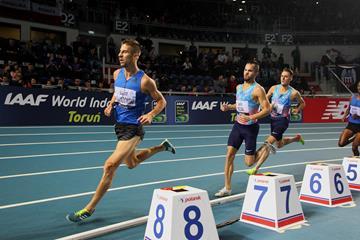 Marcin Lewandowski in the 1500m at the IAAF World Indoor Tour meeting in Torun (Jean-Pierre Durand)